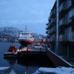 Et bilde av en av mellomklasse hurtigrutene, MS Vesterålen. 10. januar 2008.