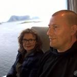På ferga fra Røst, skulle egentlig hoppe av på Værøy, men da måtte vi bli der til neste dag