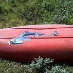 Tenkte æ skulle dra på kanotur på Holmevann, men oppdaga hullet før æ tok den utpå vannet