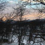 Snart innerst i dalen og fargene på himmelen er nydelig, vises ikke så godt på bildet