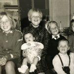 Karin, Liv med Ann på fanget, æ og Dag foran og Heidi