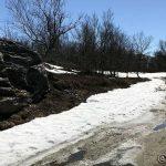"""Ved """"pissteinen"""" var det litt snø på veien"""