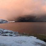 Etter å ha snudd i Masterelv og på tilbaketuren så det mørkt ut ute på fjorden