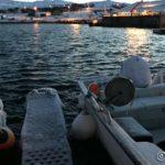 Litt nediset, både båtene og gangveien