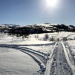 Kjørte spor i myksnøen til Rottelva