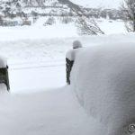 Iallefall kommet minst 10 cm med nysnø i natt, rødda bort snøen i inngangen i går ettermiddag