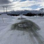 På hjemveien og vårtegnet her er at asfalten begynner å tine frem