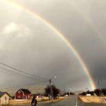 Snudde og gikk hjem og måtte ta bilde av dobbel regnbue