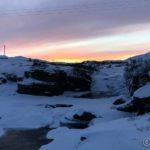Kokelvfossen og rød himmel