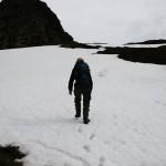 På han igjen, også snøen måtte forseres