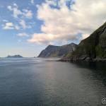 Her ser vi utover mot Værøy og Røst (skjult av Værøy og for langt ute)
