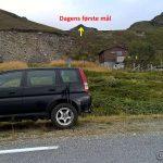Bilen parkert og første mål er tegnet inn her