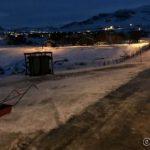Litt snørydding måtte til, her ved post- og søppelkassene