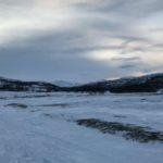 På tur mot Rottelvbrua, ikke så fin himmel i dag