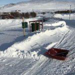 Skrekk og gru, snøen her var steinhard og skjæret på skuffa ble ødelagt
