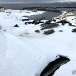 Også isen nedfor brua begynner å slippe vannet til